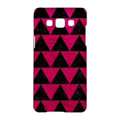 Triangle2 Black Marble & Pink Leather Samsung Galaxy A5 Hardshell Case  by trendistuff