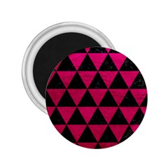 Triangle3 Black Marble & Pink Leather 2 25  Magnets by trendistuff