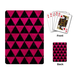 Triangle3 Black Marble & Pink Leather Playing Card by trendistuff