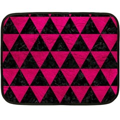 Triangle3 Black Marble & Pink Leather Fleece Blanket (mini) by trendistuff