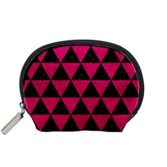 Triangle3 Black Marble & Pink Leather Accessory Pouches (small)  by trendistuff