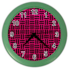 Woven1 Black Marble & Pink Leather Color Wall Clocks by trendistuff