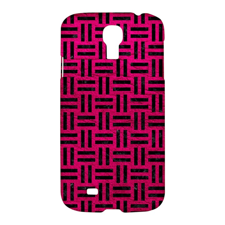 WOVEN1 BLACK MARBLE & PINK LEATHER Samsung Galaxy S4 I9500/I9505 Hardshell Case