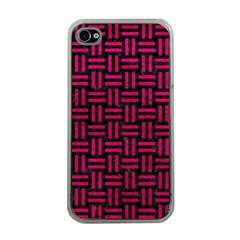 Woven1 Black Marble & Pink Leather (r) Apple Iphone 4 Case (clear) by trendistuff