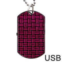 Woven1 Black Marble & Pink Leather (r) Dog Tag Usb Flash (two Sides) by trendistuff