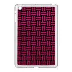 Woven1 Black Marble & Pink Leather (r) Apple Ipad Mini Case (white) by trendistuff