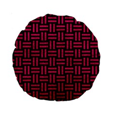 Woven1 Black Marble & Pink Leather (r) Standard 15  Premium Round Cushions by trendistuff