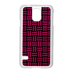 Woven1 Black Marble & Pink Leather (r) Samsung Galaxy S5 Case (white) by trendistuff