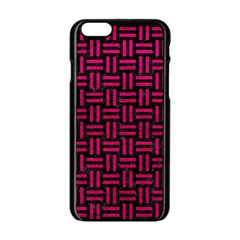 Woven1 Black Marble & Pink Leather (r) Apple Iphone 6/6s Black Enamel Case by trendistuff