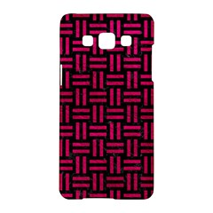 Woven1 Black Marble & Pink Leather (r) Samsung Galaxy A5 Hardshell Case  by trendistuff