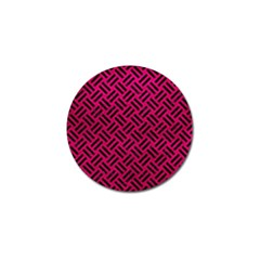 Woven2 Black Marble & Pink Leather Golf Ball Marker (4 Pack) by trendistuff