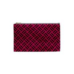 Woven2 Black Marble & Pink Leather Cosmetic Bag (small)  by trendistuff