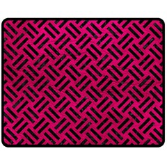 Woven2 Black Marble & Pink Leather Fleece Blanket (medium)  by trendistuff