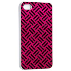 Woven2 Black Marble & Pink Leather Apple Iphone 4/4s Seamless Case (white) by trendistuff