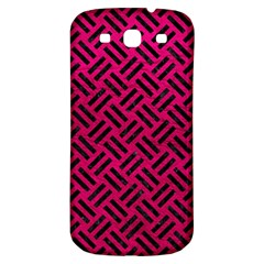 Woven2 Black Marble & Pink Leather Samsung Galaxy S3 S Iii Classic Hardshell Back Case by trendistuff