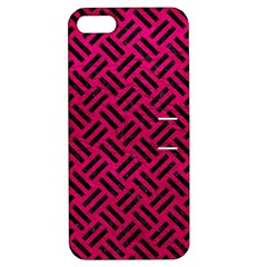 Woven2 Black Marble & Pink Leather Apple Iphone 5 Hardshell Case With Stand by trendistuff