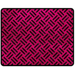 Woven2 Black Marble & Pink Leather Double Sided Fleece Blanket (medium)  by trendistuff