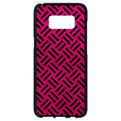 Woven2 Black Marble & Pink Leather Samsung Galaxy S8 Black Seamless Case by trendistuff