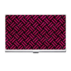 Woven2 Black Marble & Pink Leather (r) Business Card Holders by trendistuff