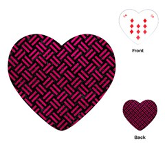Woven2 Black Marble & Pink Leather (r) Playing Cards (heart)  by trendistuff