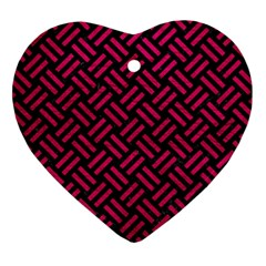 Woven2 Black Marble & Pink Leather (r) Heart Ornament (two Sides) by trendistuff
