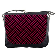 Woven2 Black Marble & Pink Leather (r) Messenger Bags by trendistuff