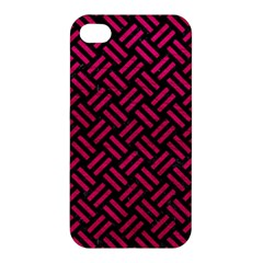 Woven2 Black Marble & Pink Leather (r) Apple Iphone 4/4s Premium Hardshell Case by trendistuff