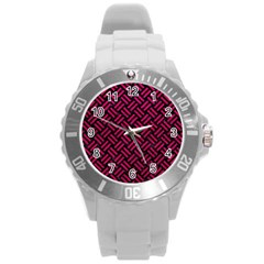 Woven2 Black Marble & Pink Leather (r) Round Plastic Sport Watch (l) by trendistuff