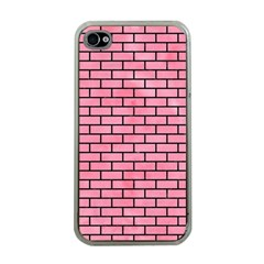 Brick1 Black Marble & Pink Watercolor Apple Iphone 4 Case (clear)