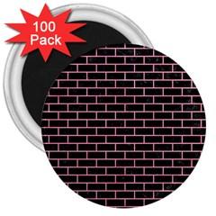 Brick1 Black Marble & Pink Watercolor (r) 3  Magnets (100 Pack) by trendistuff
