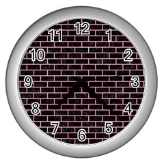Brick1 Black Marble & Pink Watercolor (r) Wall Clocks (silver)  by trendistuff
