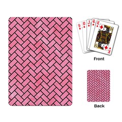 Brick2 Black Marble & Pink Watercolor Playing Card by trendistuff