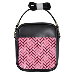 Brick2 Black Marble & Pink Watercolor Girls Sling Bags by trendistuff