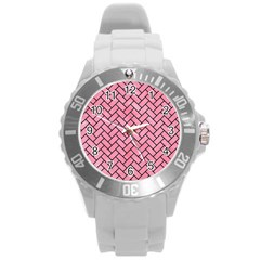 Brick2 Black Marble & Pink Watercolor Round Plastic Sport Watch (l) by trendistuff
