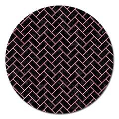 Brick2 Black Marble & Pink Watercolor (r) Magnet 5  (round) by trendistuff