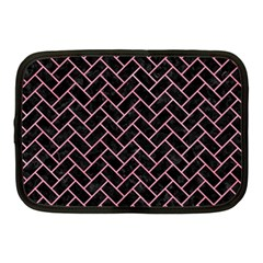 Brick2 Black Marble & Pink Watercolor (r) Netbook Case (medium)  by trendistuff