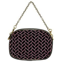 Brick2 Black Marble & Pink Watercolor (r) Chain Purses (one Side)  by trendistuff