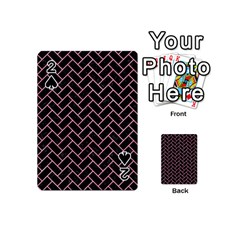 Brick2 Black Marble & Pink Watercolor (r) Playing Cards 54 (mini)  by trendistuff