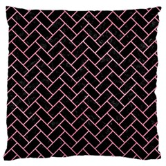 Brick2 Black Marble & Pink Watercolor (r) Large Cushion Case (one Side) by trendistuff