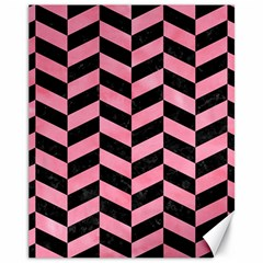 Chevron1 Black Marble & Pink Watercolor Canvas 11  X 14   by trendistuff