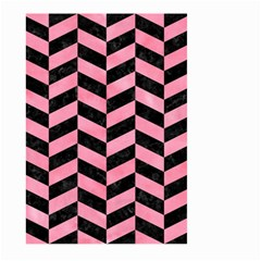 Chevron1 Black Marble & Pink Watercolor Large Garden Flag (two Sides) by trendistuff