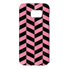 Chevron1 Black Marble & Pink Watercolor Samsung Galaxy S7 Edge Hardshell Case by trendistuff