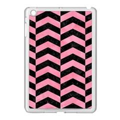Chevron2 Black Marble & Pink Watercolor Apple Ipad Mini Case (white) by trendistuff