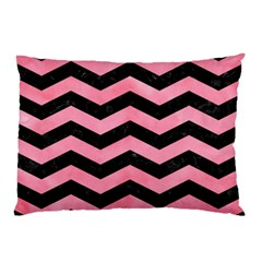 Chevron3 Black Marble & Pink Watercolor Pillow Case by trendistuff