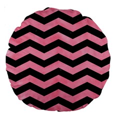 Chevron3 Black Marble & Pink Watercolor Large 18  Premium Round Cushions by trendistuff