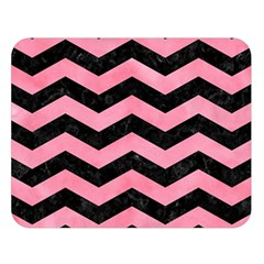 Chevron3 Black Marble & Pink Watercolor Double Sided Flano Blanket (large)  by trendistuff
