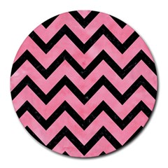 Chevron9 Black Marble & Pink Watercolor Round Mousepads by trendistuff