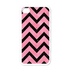 Chevron9 Black Marble & Pink Watercolor Apple Iphone 4 Case (white) by trendistuff