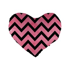 Chevron9 Black Marble & Pink Watercolor Standard 16  Premium Flano Heart Shape Cushions by trendistuff