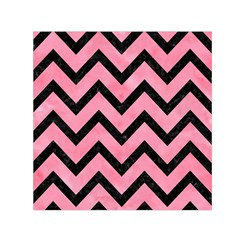 Chevron9 Black Marble & Pink Watercolor Small Satin Scarf (square)